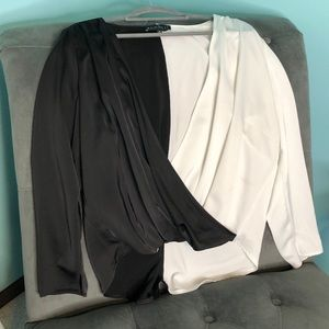 Black and White Long Sleeved Blouse